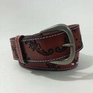 Vintage Brown Leather Belt Size 34
